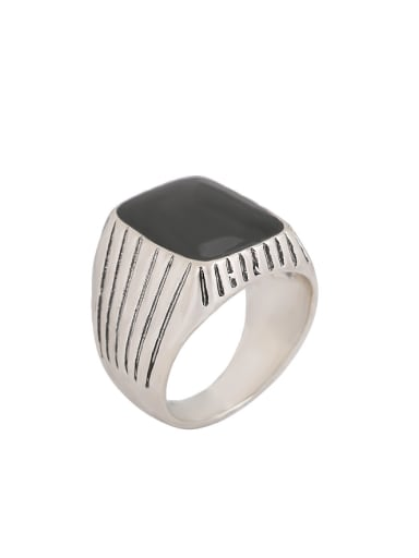 Punk style Black Enamel Silver Plated Alloy Ring