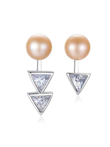 Sterling Silver with AAA zircon asymmetrical pearl studs earring