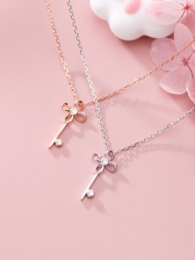 925 Sterling Silver With  Cubic Zirconia Simplistic Irregular Key Necklaces