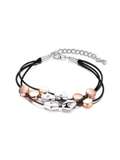Fashion Multi-layer Geometric Shaped Artificial Leather Bracelet