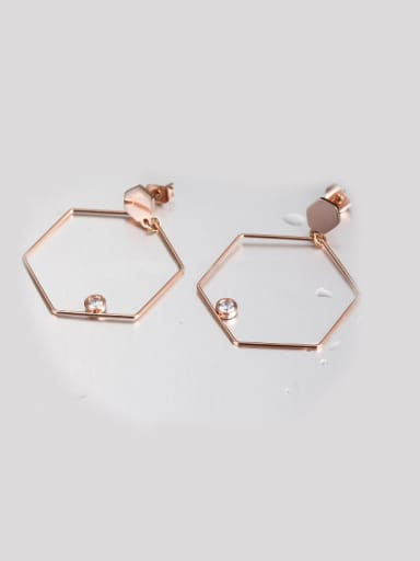 Trendy Geometric Rose Gold Zircon hoop earring