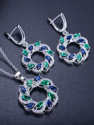Fashion Round Zircon Earring Pendant Two-Piece Set