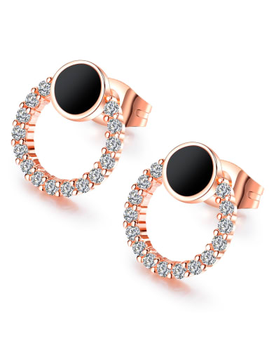 Stainless Steel With Rose Gold Plated Fashion Round Earrings
