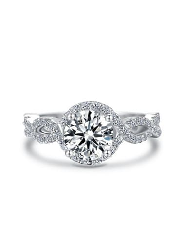 Fashionable 925 Silver Round Shaped Zircon Ring