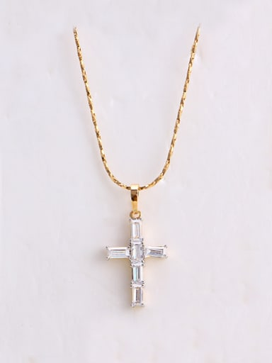 Copper Alloy 18K Gold Plated Fashion Cross Zircon Necklace