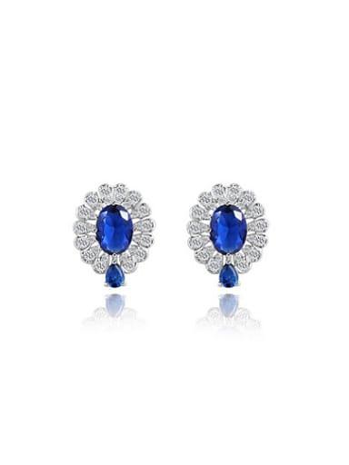 Exquisite Double Color AAA Zircon Stud Earrings