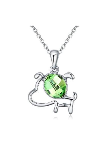 Fashion Zodiac Dog Oval Swarovski Crystal Pendant Alloy Necklace