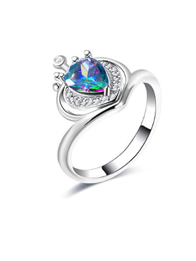 Platinum Plated Colorful Glass Bead Crown Shaped Ring