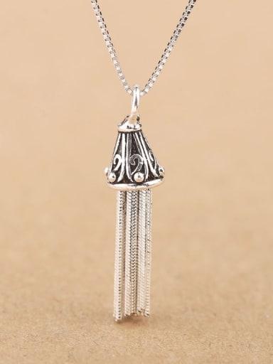 Retro style Tassel Silver Necklace