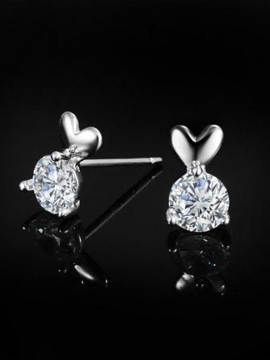 Tiny Cubic Zircon 925 Sterling Silver Cute Heart Stud Earrings