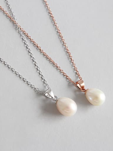 Sterling Silver personality drops of natural freshwater pearl necklace