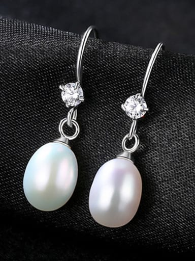 Sterling Silver with 3A zircon natural pearl earrings