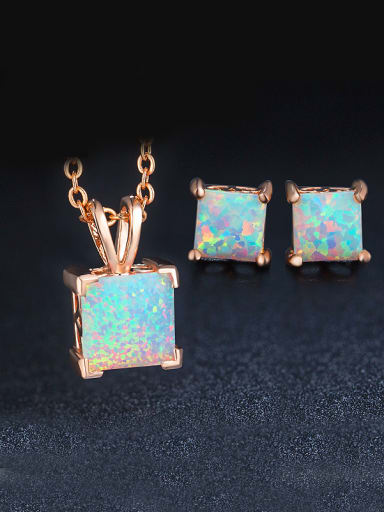 Square Opal Stone Two Pieces Set