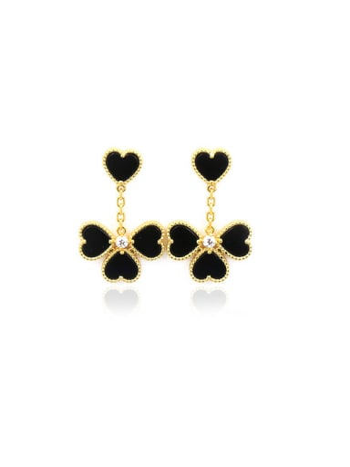 High Quality Flower -shape Color Agate Stud Earrings
