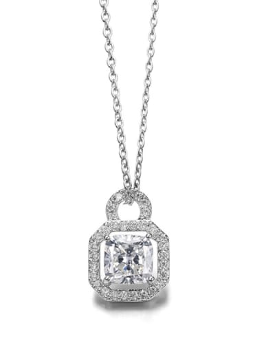 Simple square AAA Zircon bling-bling Necklace