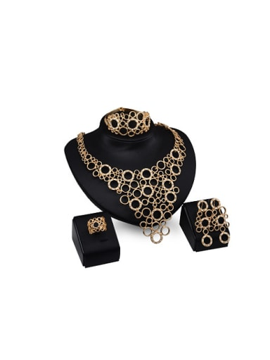 Alloy Imitation-gold Plated Vintage style Artificial Gemstone Four Pieces Jewelry Set
