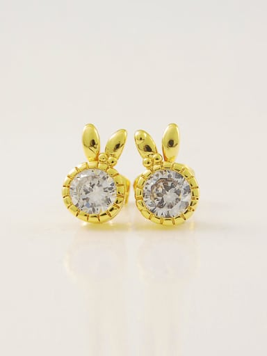 Lovely Rabbit Shaped Zircon 24K Gold Plated Stud Earrings