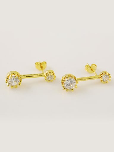 All-match 24K Gold Plated Round Design Rhinestone Stud Earrings