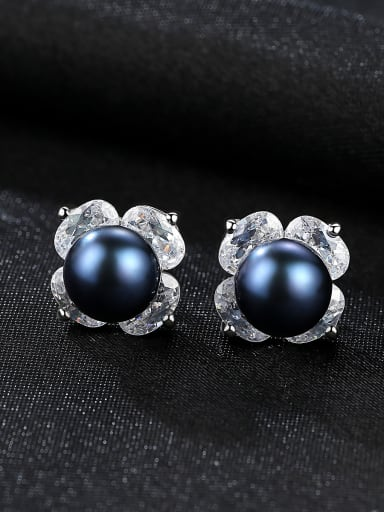 Sterling Silver 3A Zircon Flower Black Pearl Earrings