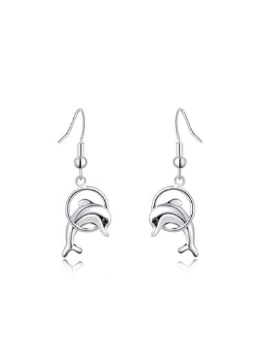 Fashionable Dolphin Shaped Crystal Drop Earrings
