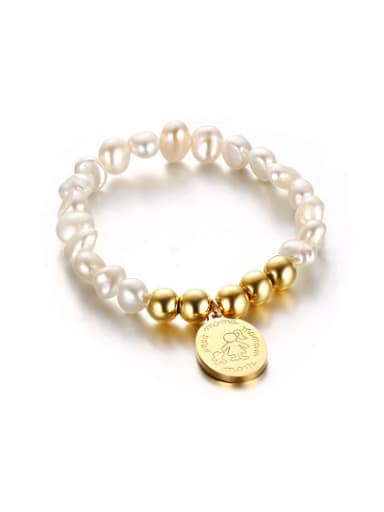 Creative Gold Plated Tag Shaped Freshwater Pearl Bracelet