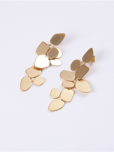 Titanium With Gold Plated Personality Geometric Drop Earrings