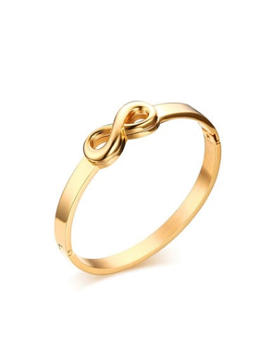 Trendy Gold Plated Figure Eight Shaped Titanium Bangle