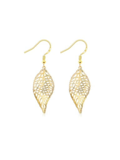 Exaggerated 18K Gold Leaf Shaped Stud hook earring
