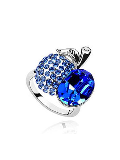 Fashion Shiny Swarovski Crystals Apple Alloy Ring