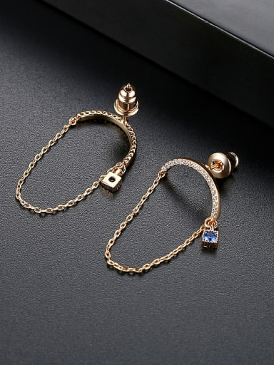 Copper With 3A cubic zirconia Trendy Geometric Earrings