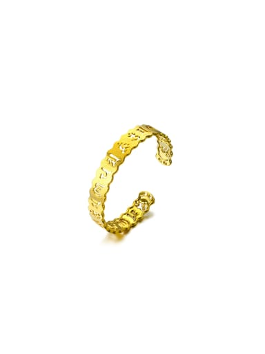 Copper Alloy 24K Gold Plated Classical Letter Bangle