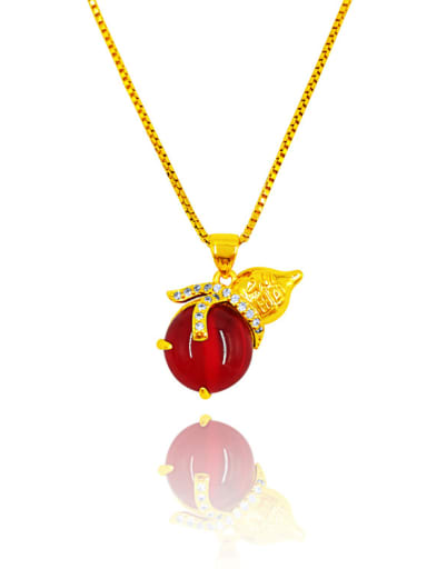 Women Gourd Shaped Red Stone Necklace