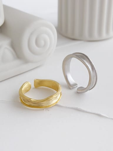 925 Sterling Silver With Gold Plated Simplistic Irregular Surface  Free Size Rings