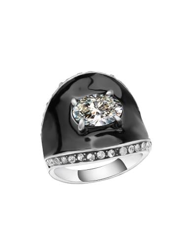Personalized Black Enamel Zircon Alloy Ring