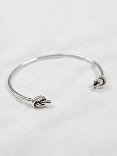 Simple Little Knots Antique Silver Plated Opening Bangle