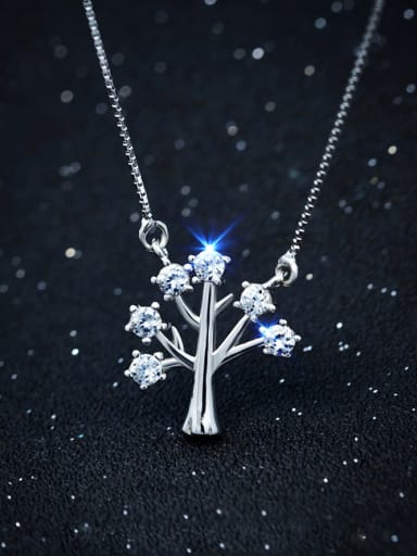 S925 silver wishing tree with zircon necklace