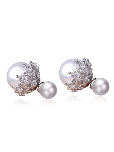 Copper With 3A cubic zirconia Fashion Ball Stud Earrings