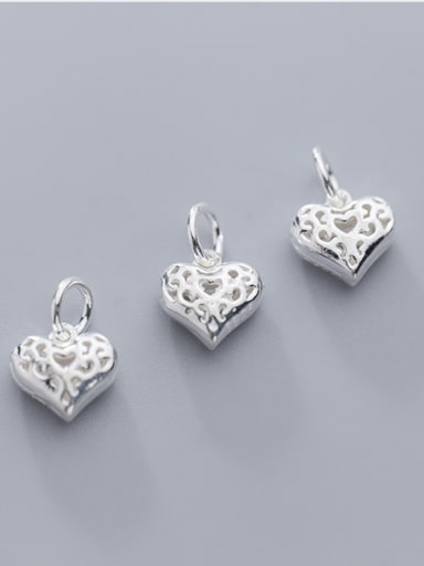 925 Sterling Silver With Silver Plated Cute Heart Charms