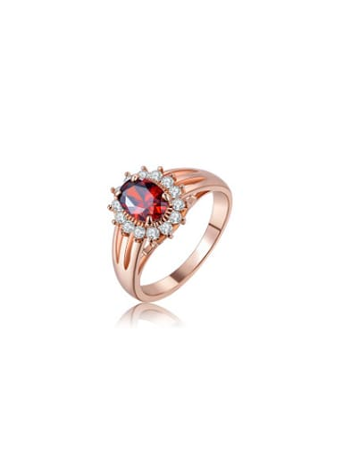 Elegant Red AAA Zircon Geometric Shaped Ring