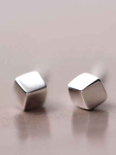 S925 Silver Square Stud Earrings