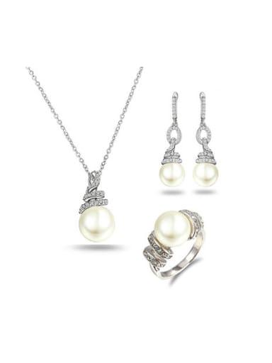 Elegant Platinum Plated Artificial Pearl Three Pieces Jewelry Set