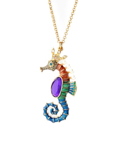 Lovely Small Hippocampus Alloy Necklace
