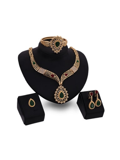 Alloy Imitation-gold Plated Ethnic style Water Drop shaped Stones Four Pieces Jewelry Set
