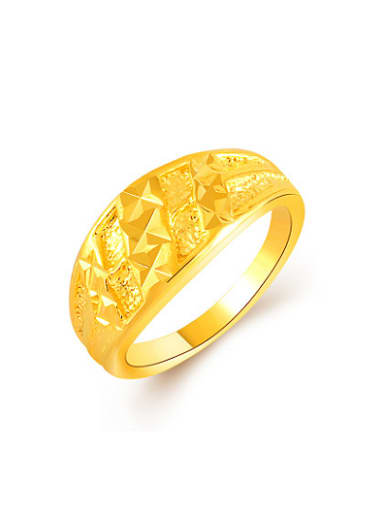 Women Trendy 24K Gold Plated Geometric Shaped Copper Ring