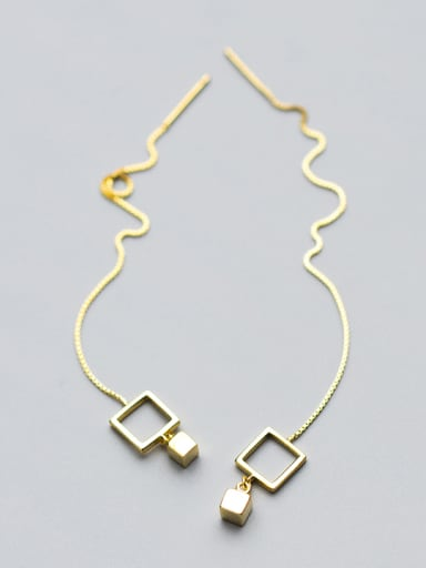 Simply Style Gold Plated Square Shaped Silver Drop Earrings
