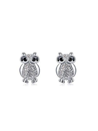 Cute Austria Crystal Owl Shaped Stud Earrings