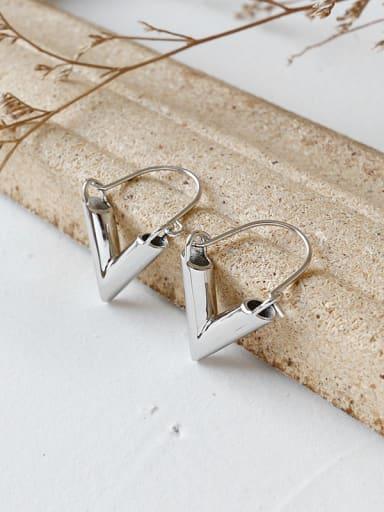 Pure silver temperament minimalist geometric V Earrings