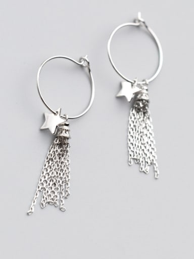 Elegant Star Shaped Tassel S925 Silver Drop Earrings