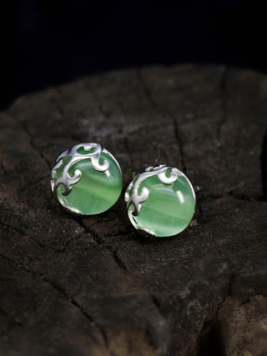 S925 Silver Hollow-out Green, Stripe, Black Agate stud Earring