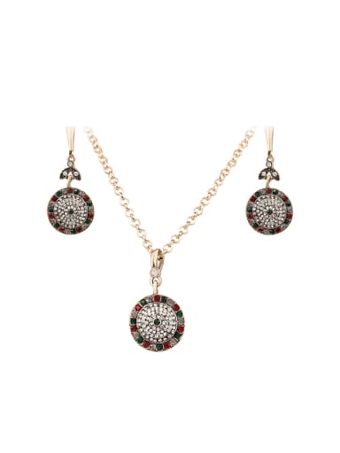 Fashion Cubic Rhinestones Gold Plated Round Two Pieces Jewelry Set
